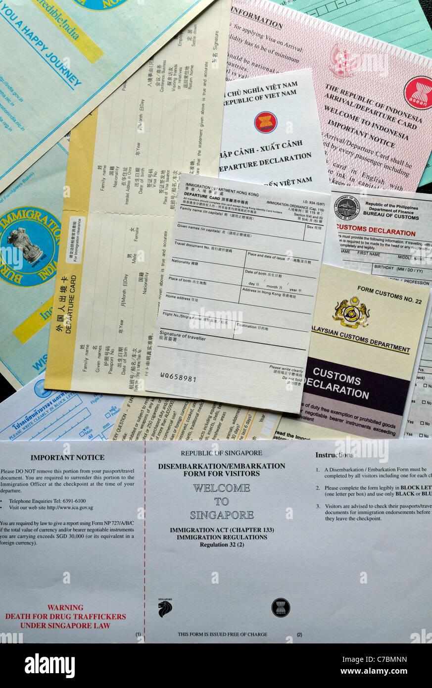 Carte Visa Asie.Carte De Debarquement Debarquement Formulaire D Immigration