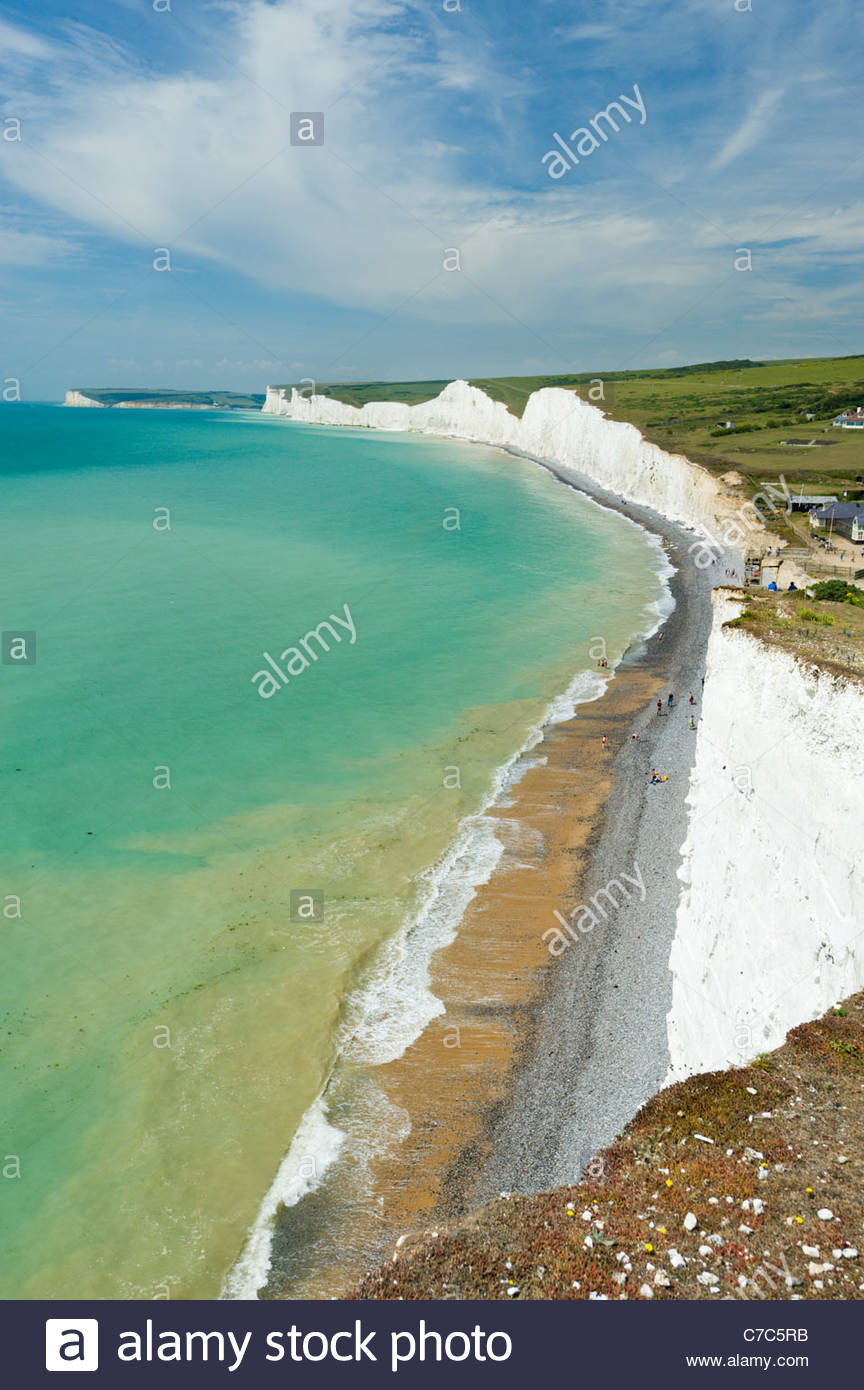Les sept Sœurs de falaises, au-dessus de Urrugne, Parc National des South Downs Photo Stock