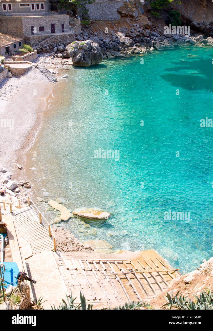 Sa Calobra plage de high point de vue en Escorca dans îles Baléares Majorque Photo Stock