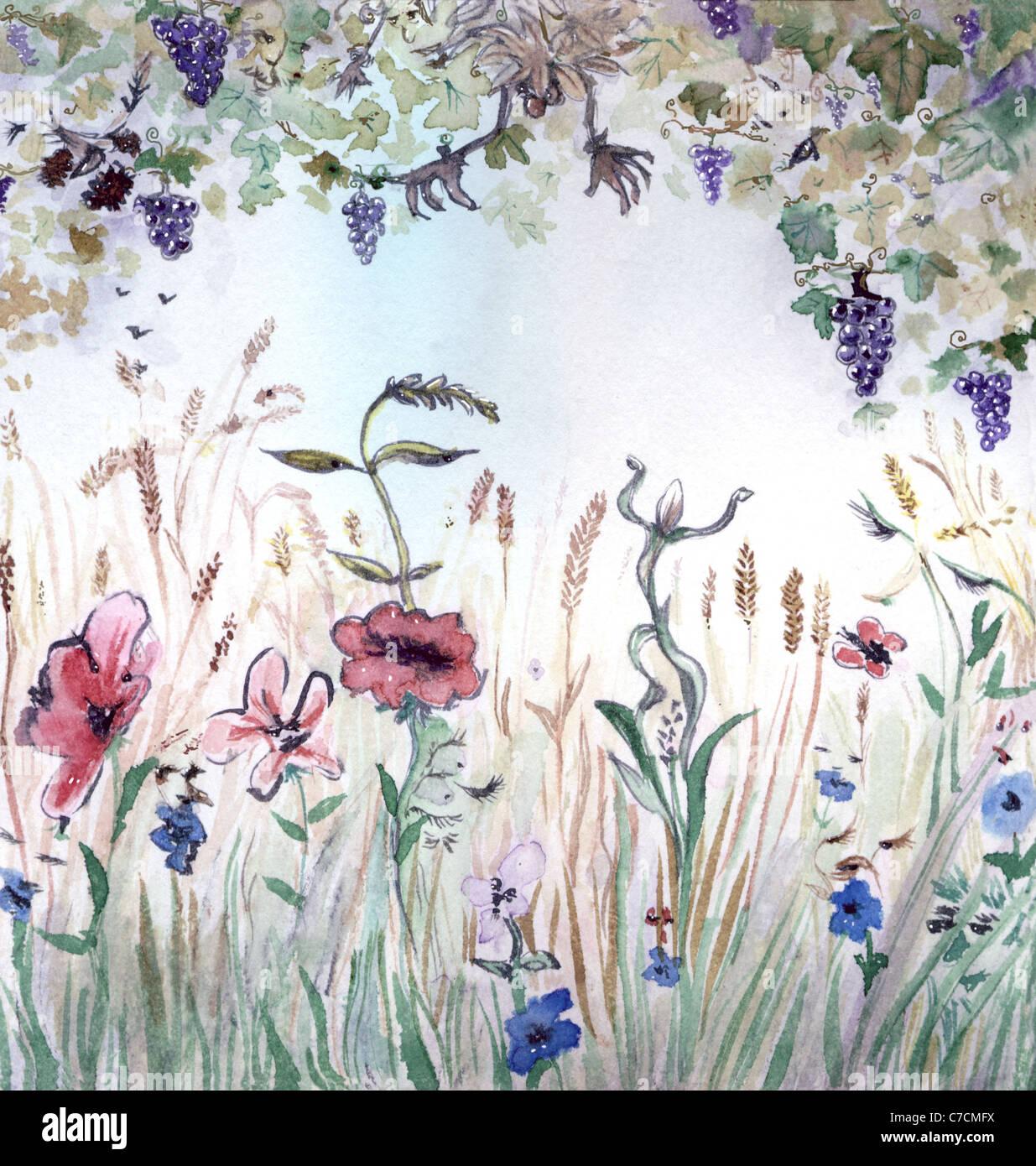 Saison d'automne, l'allégorie, illustration à l'aquarelle Banque D'Images