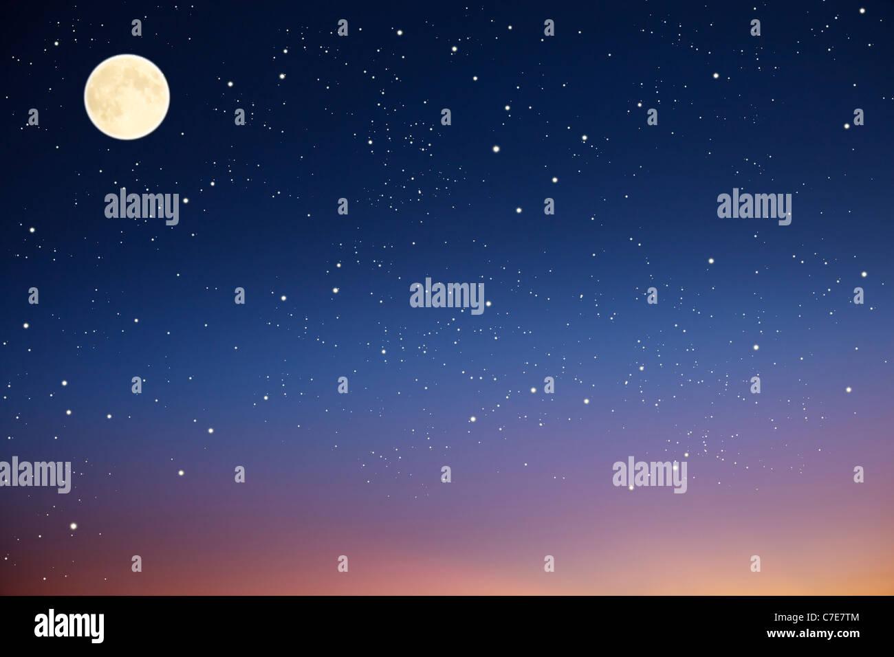 Ciel de nuit avec la lune et les étoiles. Photo Stock