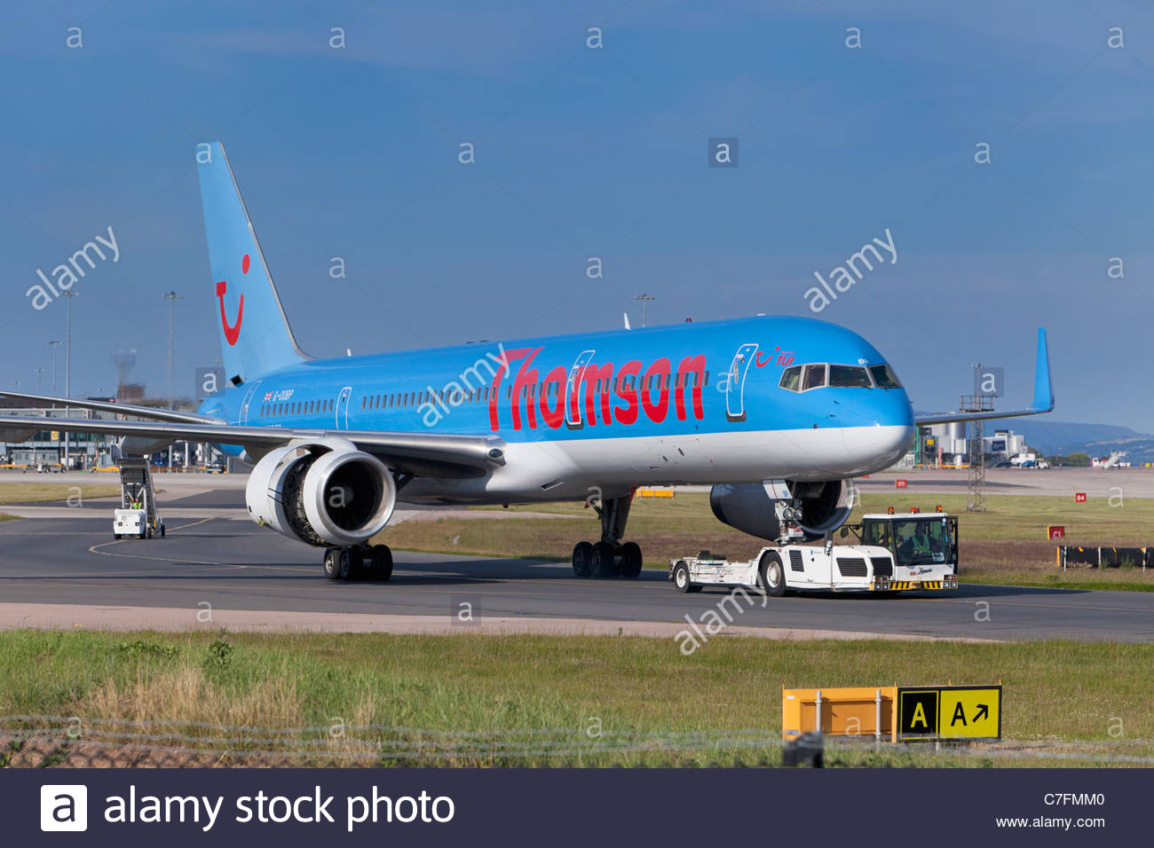 Un fly.com Thomson avion, Angleterre Photo Stock