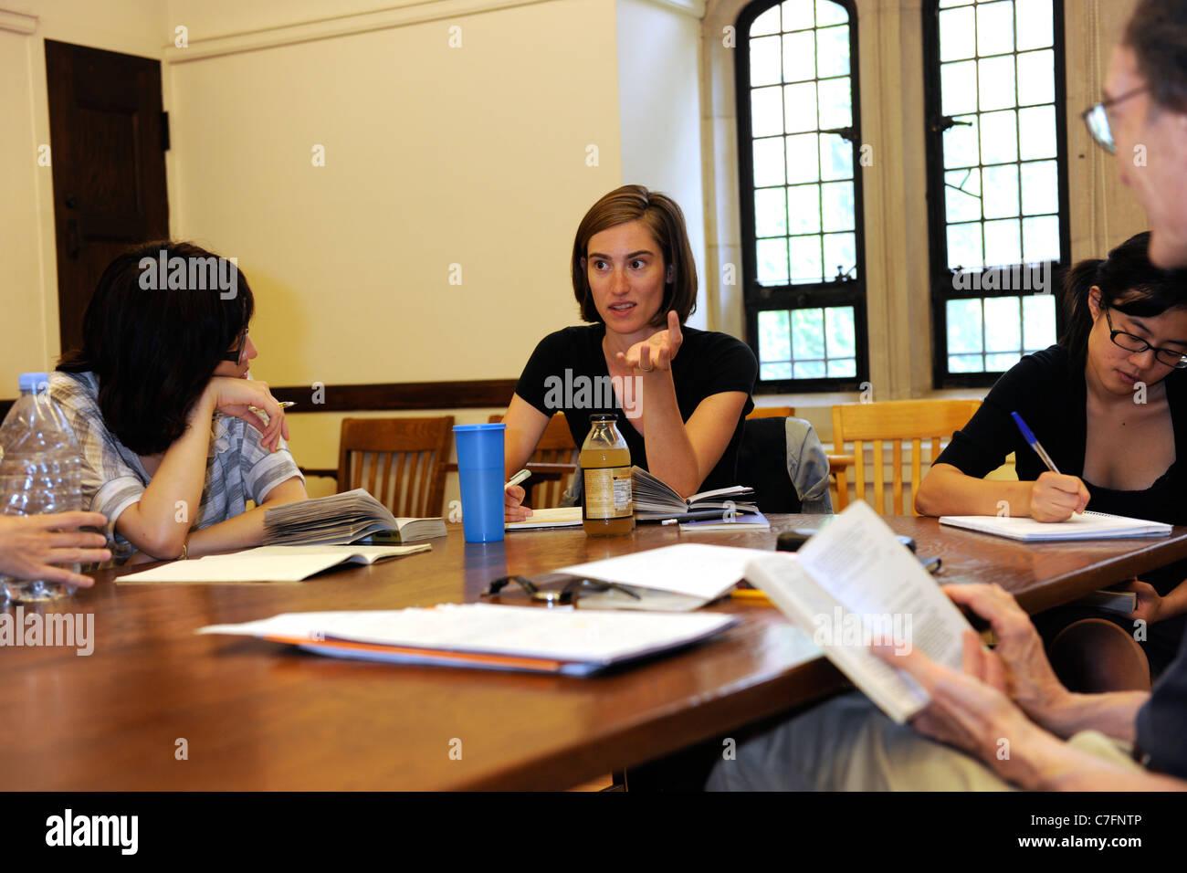 Classe de Shakespeare. École d'été de l'université de Yale. Photo Stock