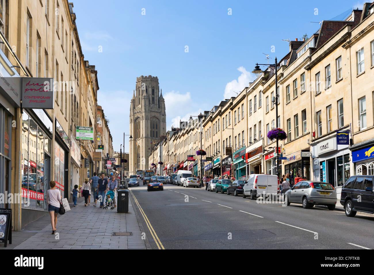 Park Street vers l'Wills Memorial Building de l'Université de Bristol, Bristol, Avon, Royaume-Uni Banque D'Images