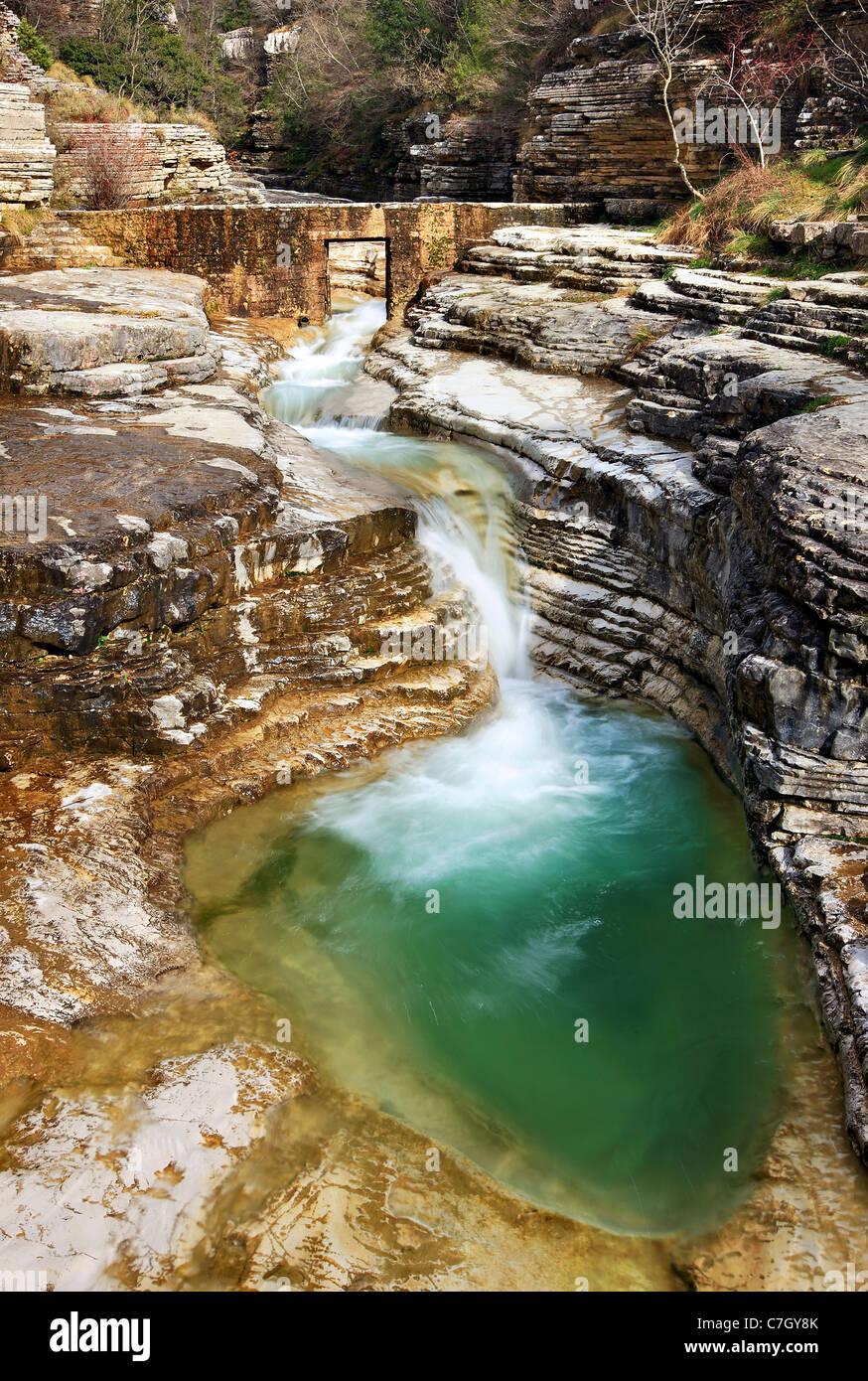 Une piscine naturelle, appelée 'Kolymbithres' ou 'Ovidres' par les habitants, à proximité Photo Stock