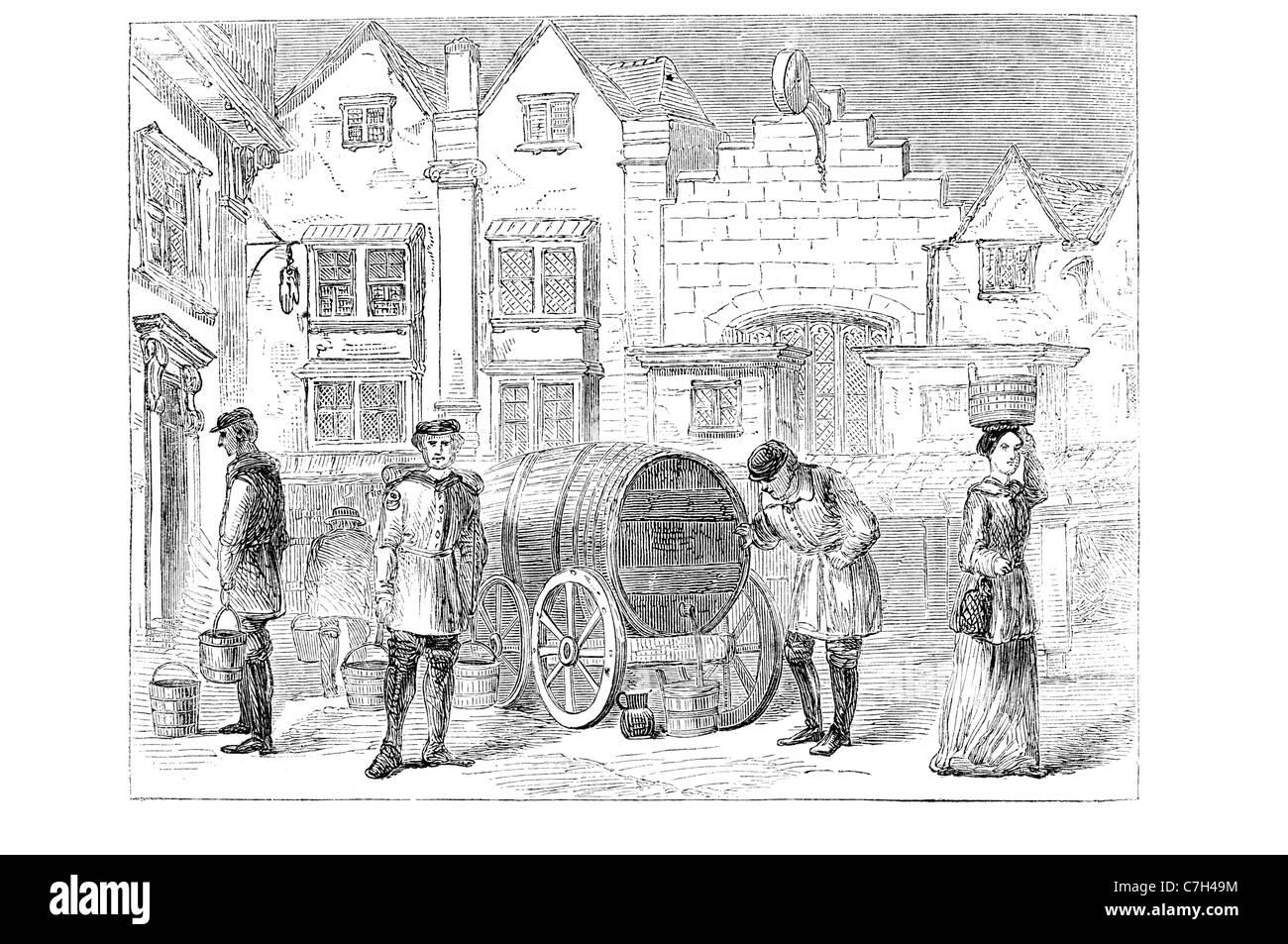 Vieux Londres porteur d'eau à partir de la gravure ancienne Photo Stock