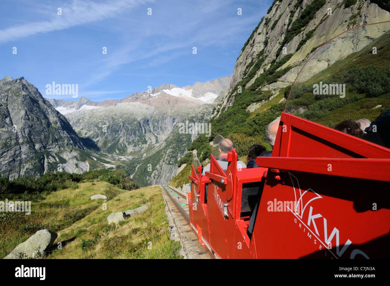 La Suisse, l'Europe de l'Ouest, région du Grimsel, nr. Guttannen, funiculaire Gelmerbahn. Photo Stock