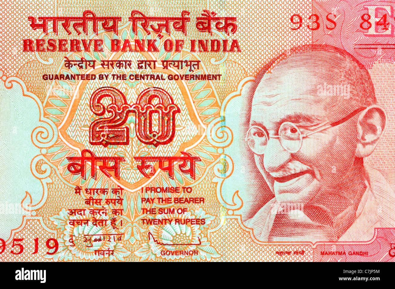 Inde 20 Vingt Rupee Bank Note. Photo Stock