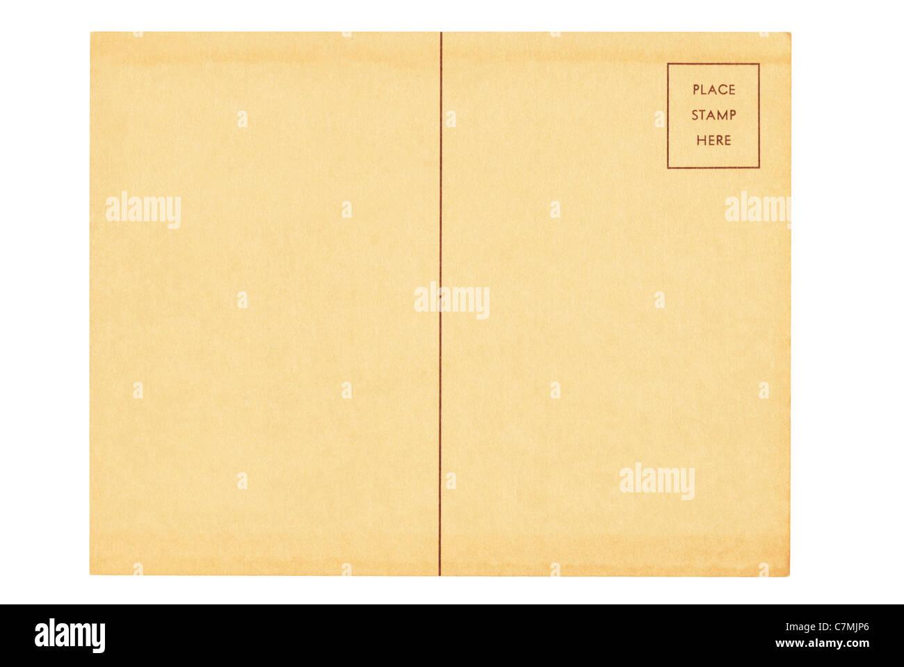Ancienne carte postale vierge avec l'espace pour l'écriture de l'adresse et le stamp Photo Stock