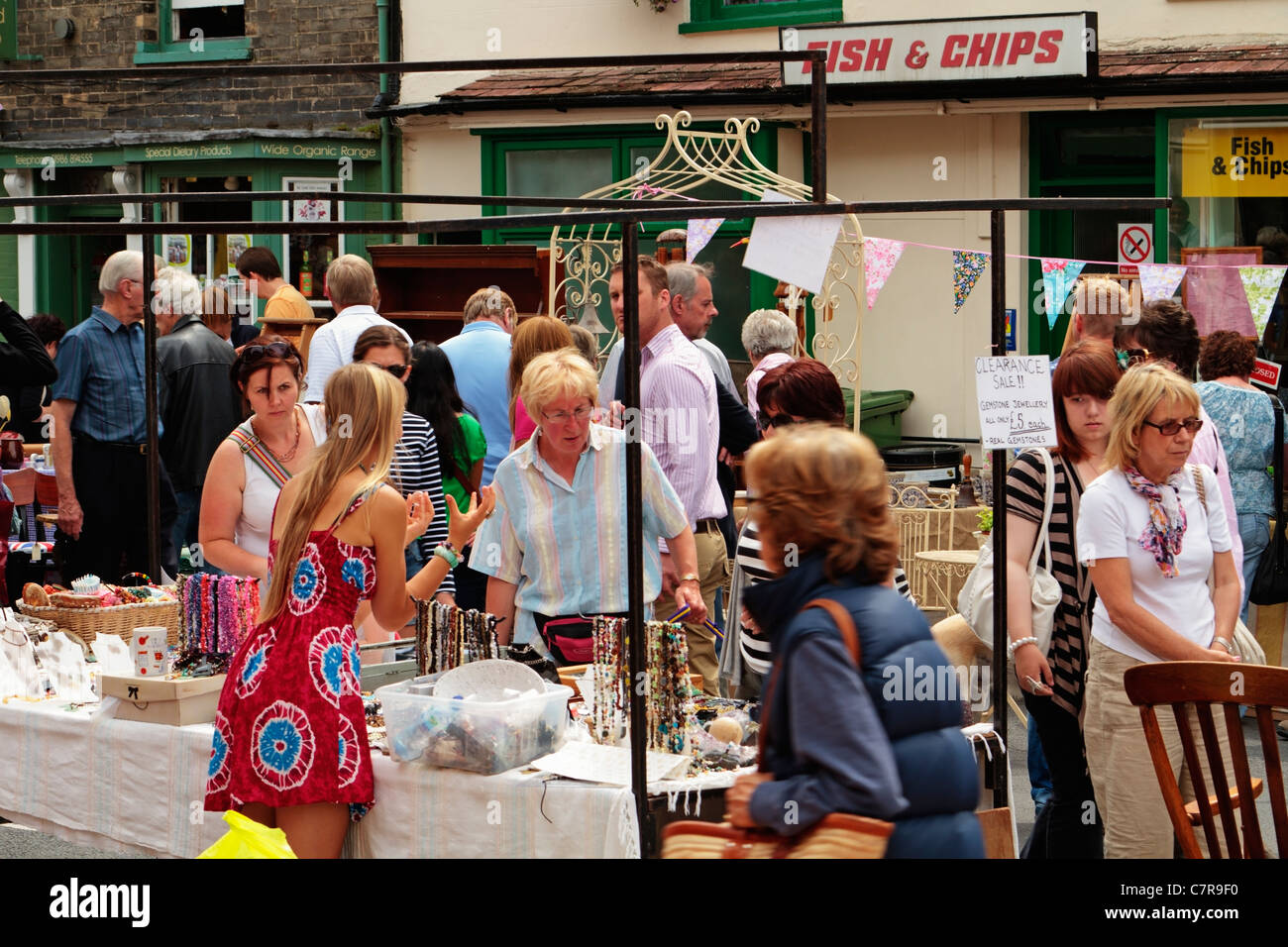 La rue antique de Bungay équitable du marché, France Photo Stock