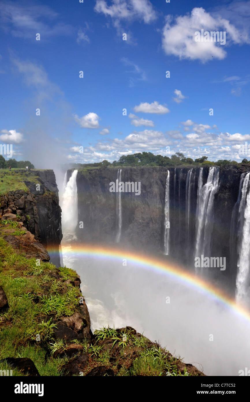 L'Afrique, le Zimbabwe, les chutes Victoria sur le fleuve Zambèze Photo Stock