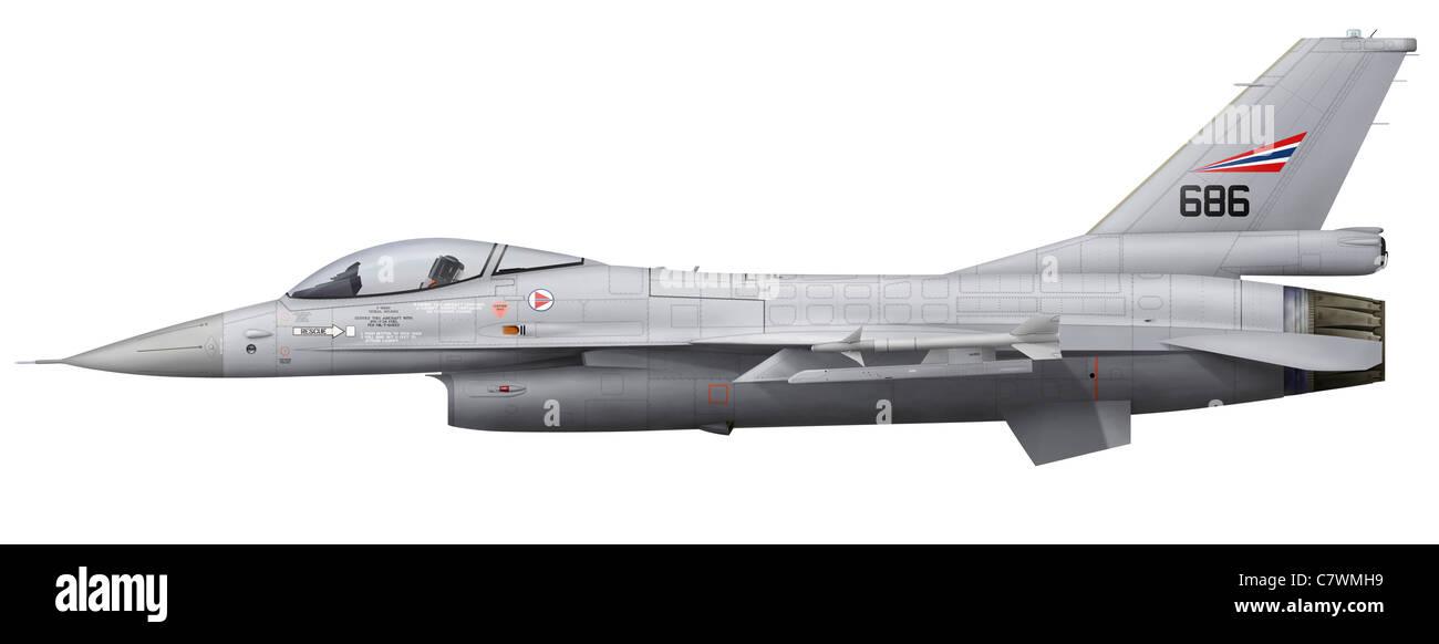 General Dynamics F-16A Fighting Falcon de la Royal Norwegian Air Force. Banque D'Images