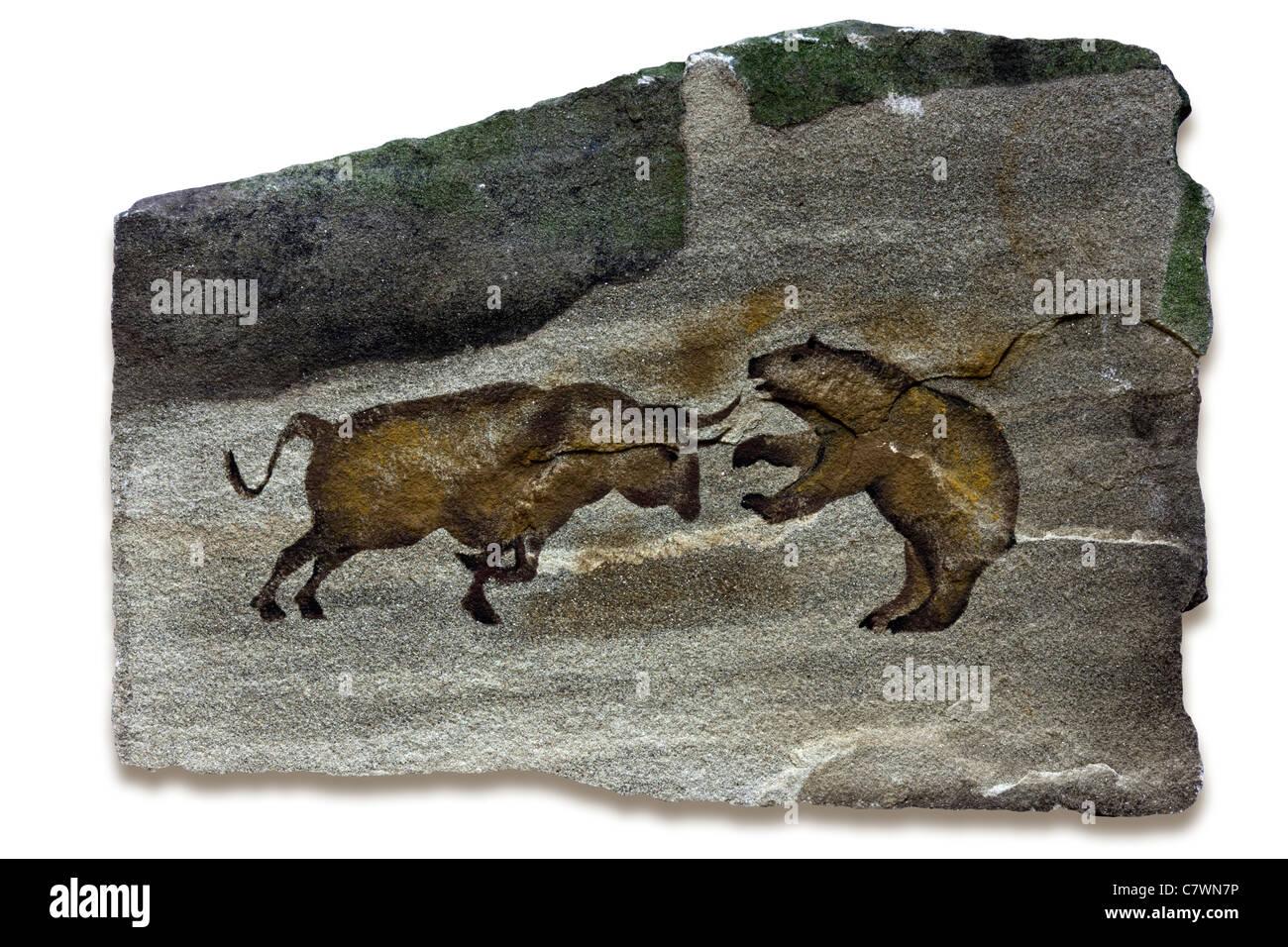 Grotte primitive art qui illustrent le taureau et les marchés de l'ours Photo Stock