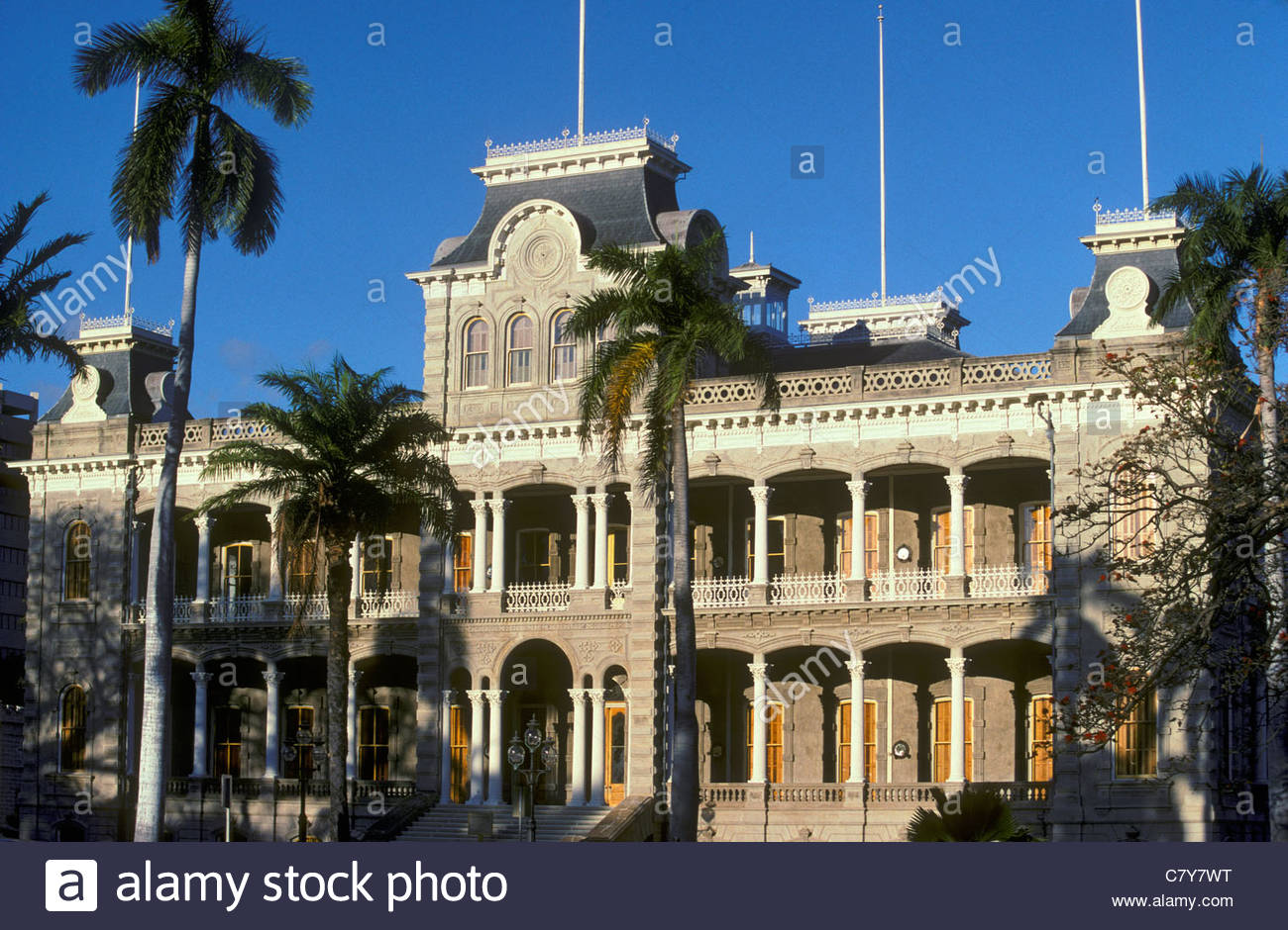 Palais Iolani, le seul palais royal aux Etats-Unis; le centre-ville quartier historique, Honolulu, Oahu, Hawaii. Banque D'Images