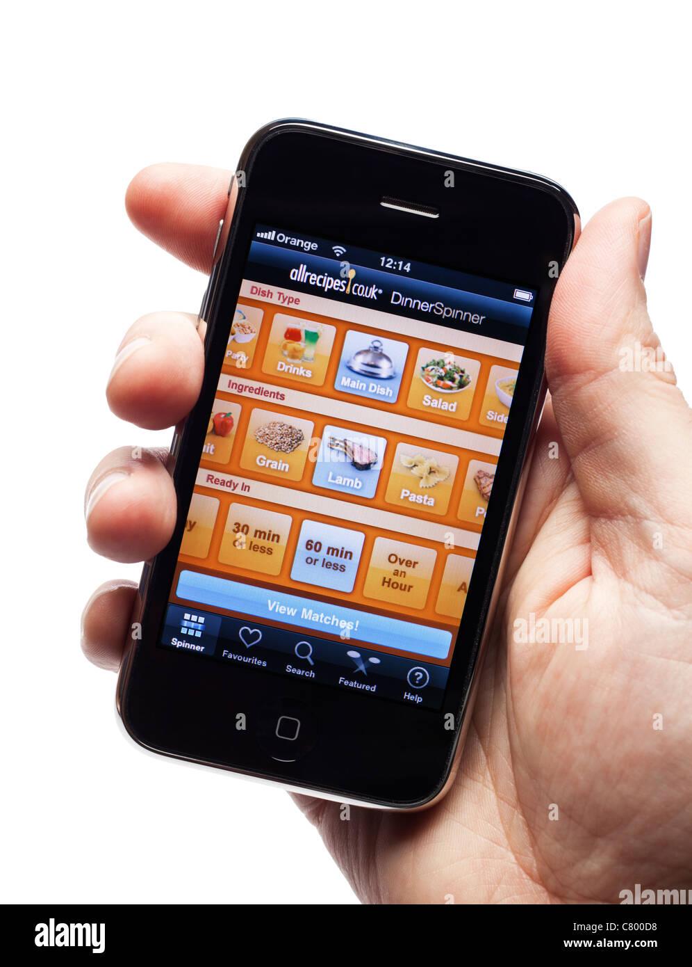 IPhone montrant une recette app sur un smartphone téléphone mobile smart phone Photo Stock