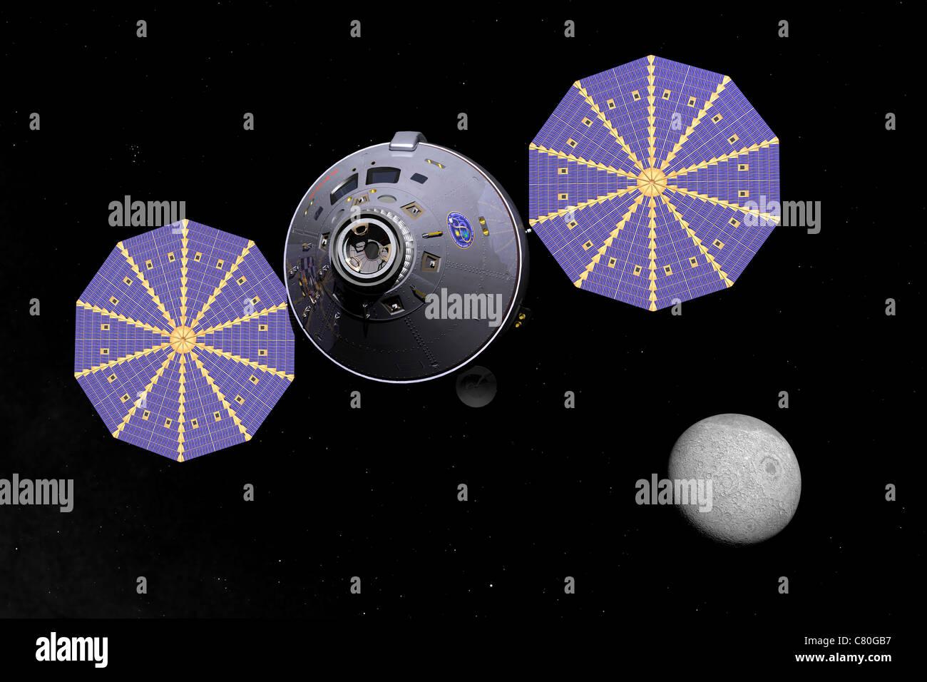 Concept de l'artiste de la prochaine génération du véhicule de l'espace lointain du module Photo Stock