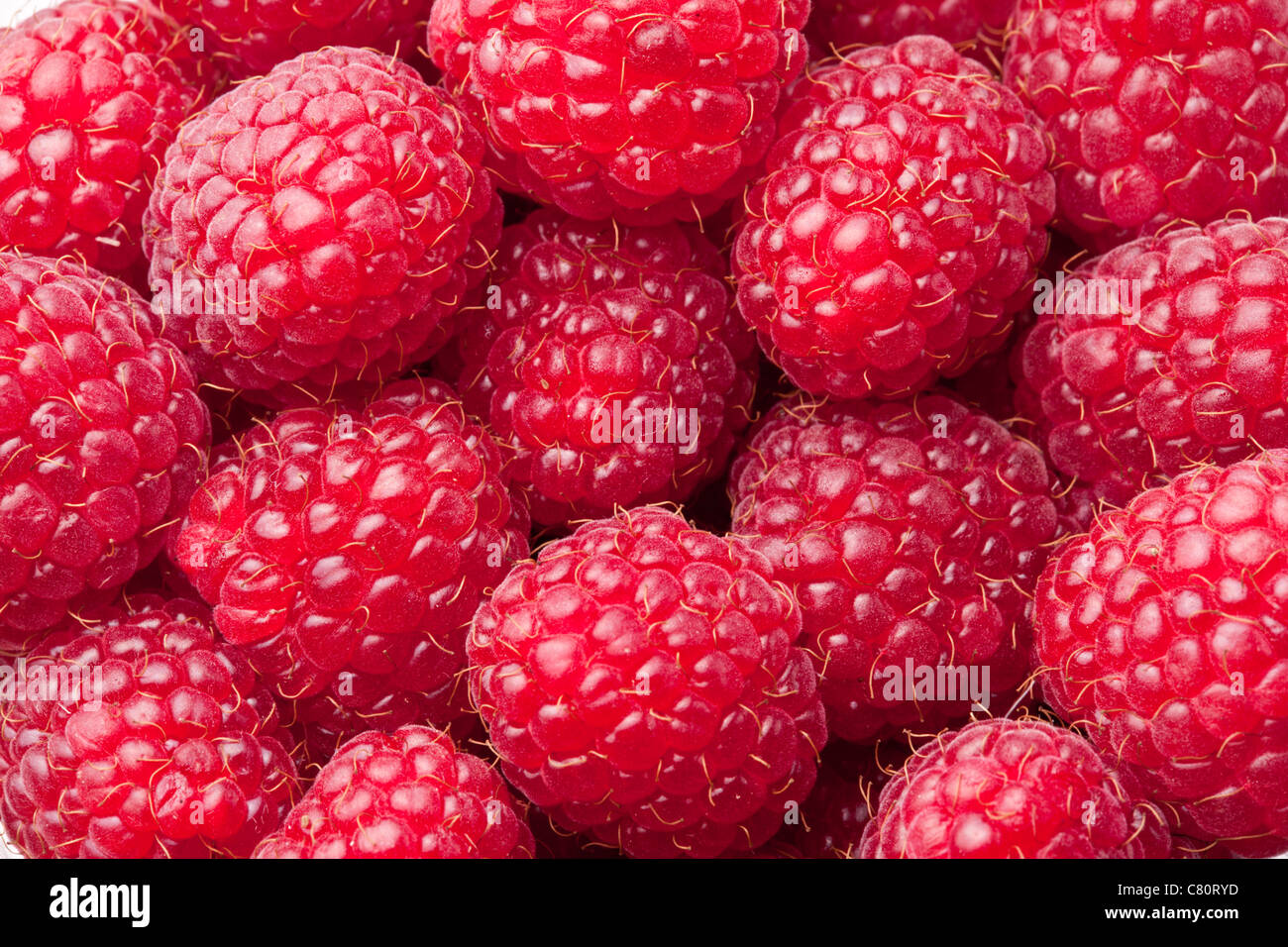Framboises close up. Macro photo. Photo Stock