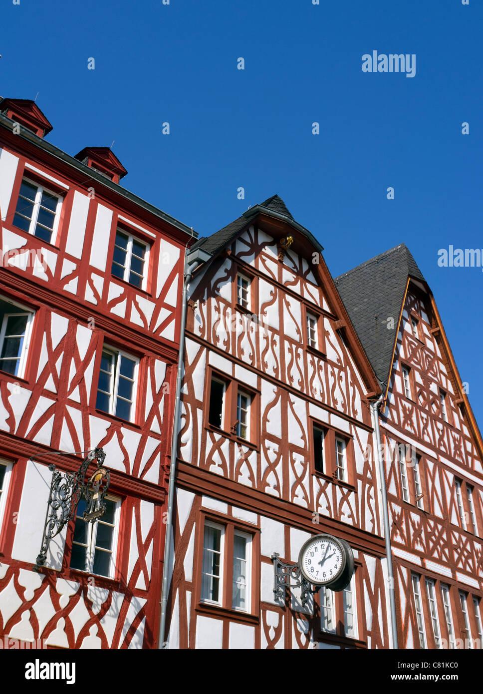 Vieilles maisons à colombages dans le centre de Trèves Rhénanie-palatinat, Allemagne Photo Stock