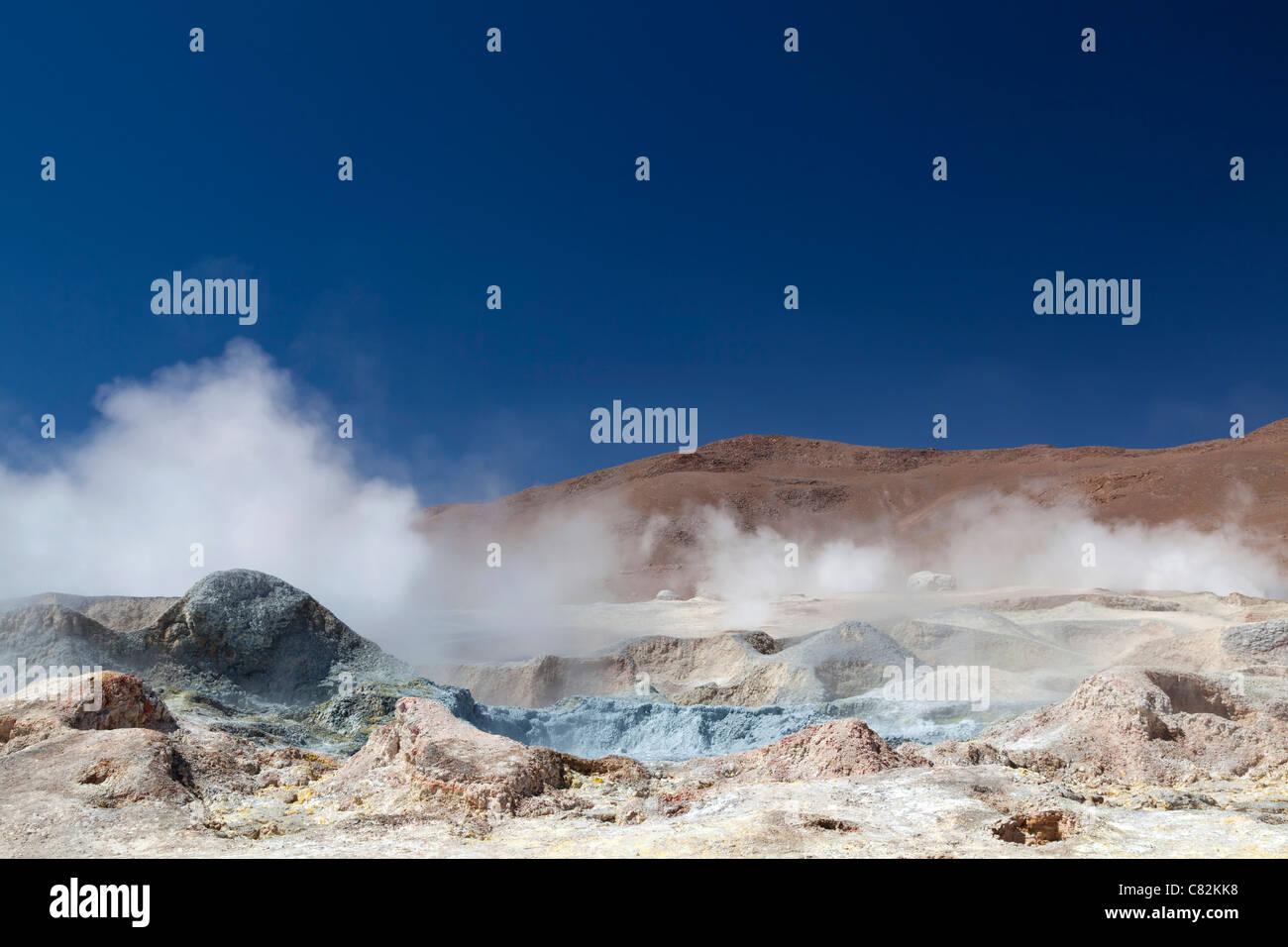 Geysers Sol de Manana (soleil du matin), de l'Altiplano bolivien Photo Stock