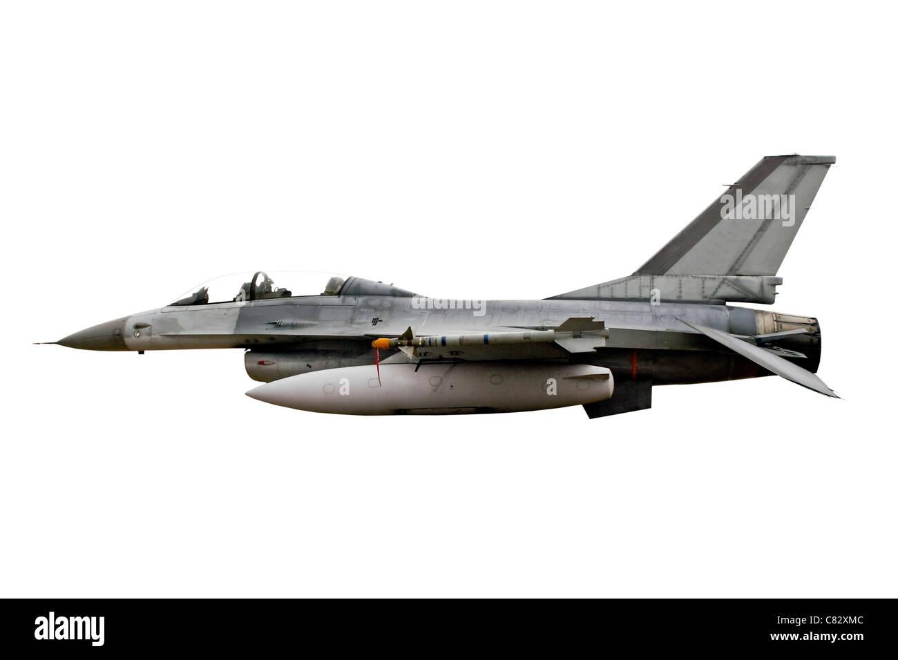 Isolé sur blanc coupé de F-16 Fighting Falcon de l'USAF Fighter Bomber Banque D'Images