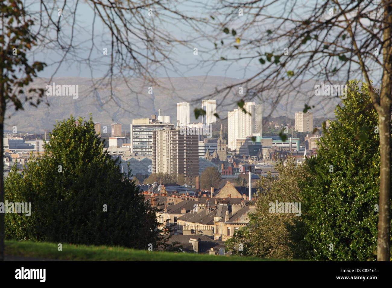 Glasgow, vue sur le nord depuis Queen's Park, Écosse, Royaume-Uni Banque D'Images
