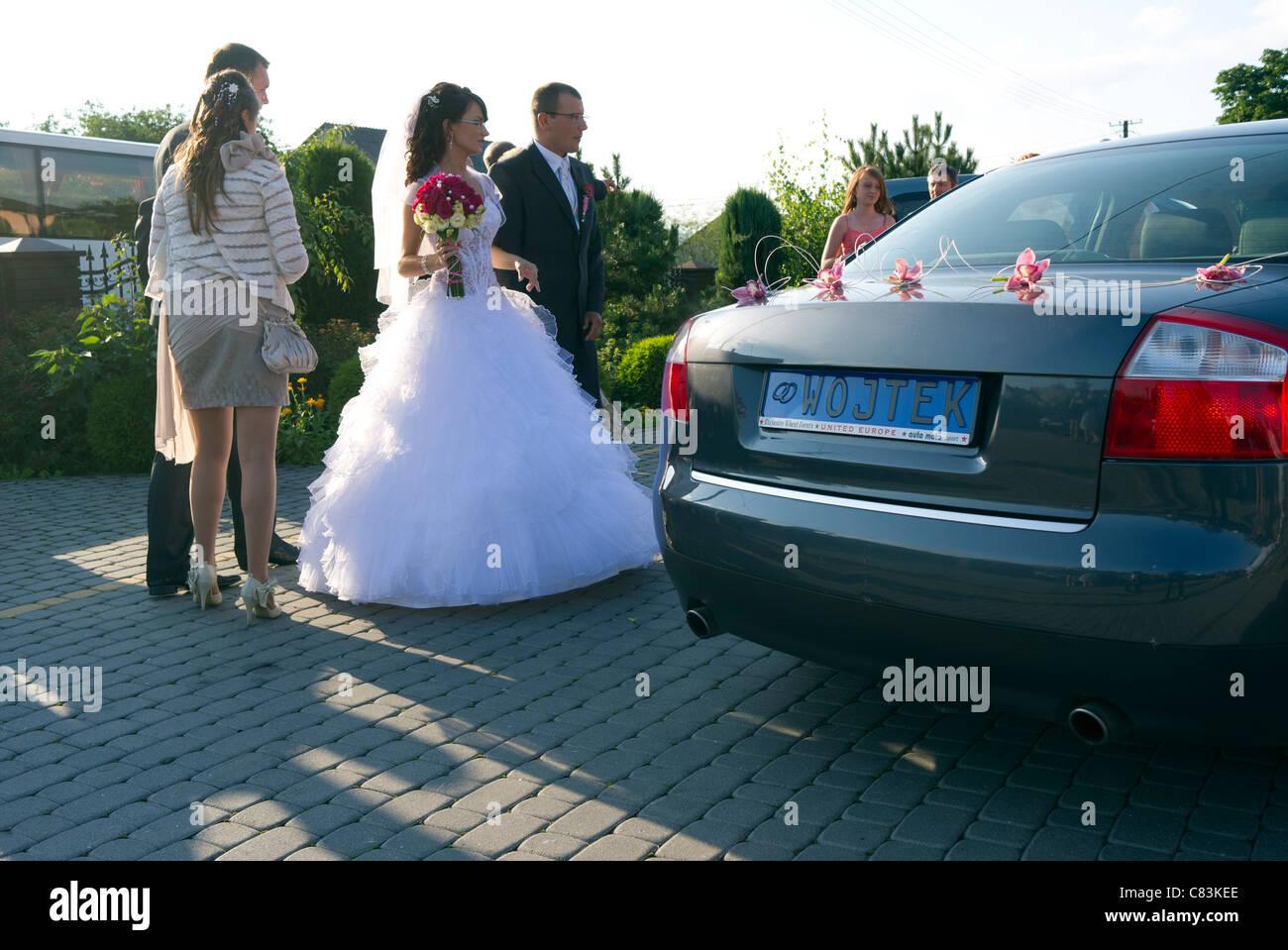 """Cérémonie de mariage traditionnel et parti en Pologne, la plaque d'inscription """"Wojtek"""" Photo Stock"""