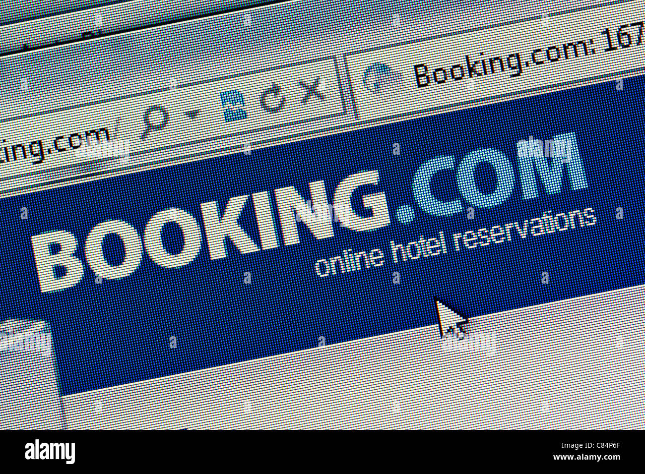 Booking.com logo et un nouveau site web close up Photo Stock