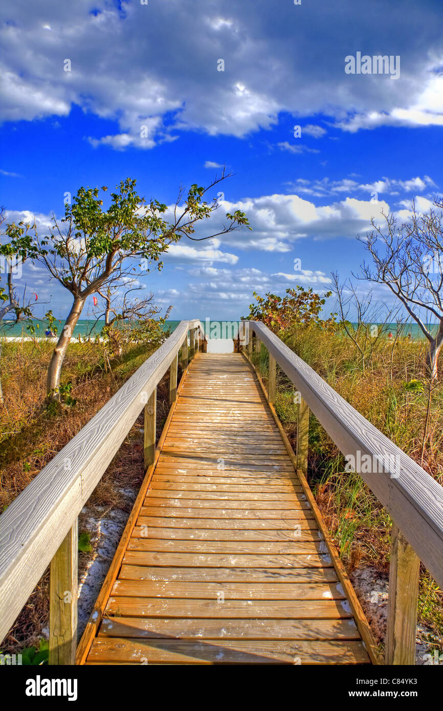 Pont à la plage dans la région de Tampa, Floride, USA Photo Stock