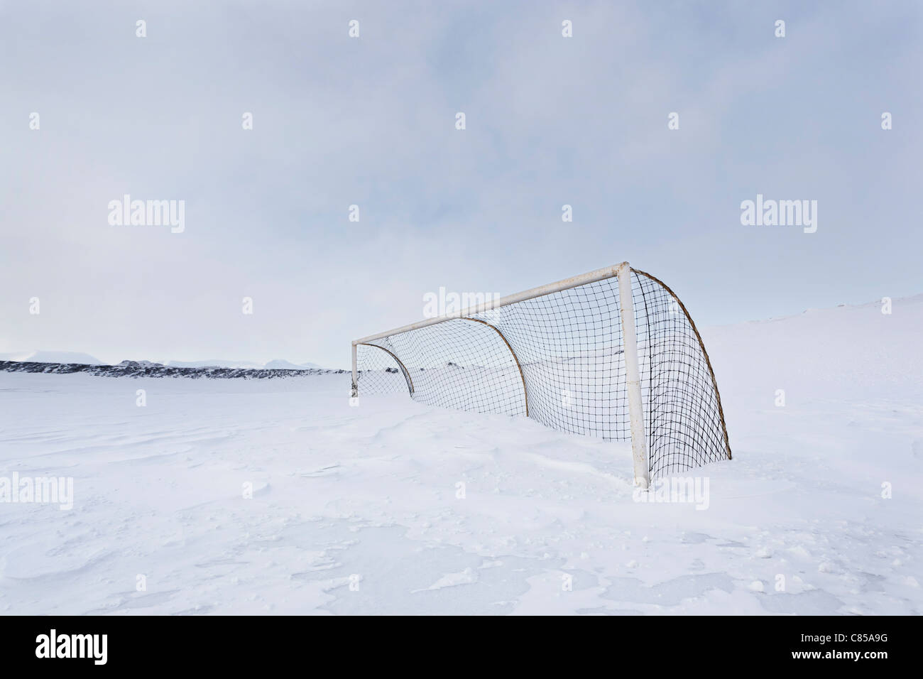 Filet de hockey dans le champ couvert de neige Photo Stock