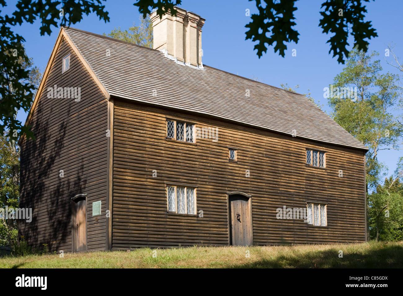 L'ancienne maison, ca. 1649, National Historic Landmark, North Fork, Vie, comté de Suffolk, Long Island, Photo Stock