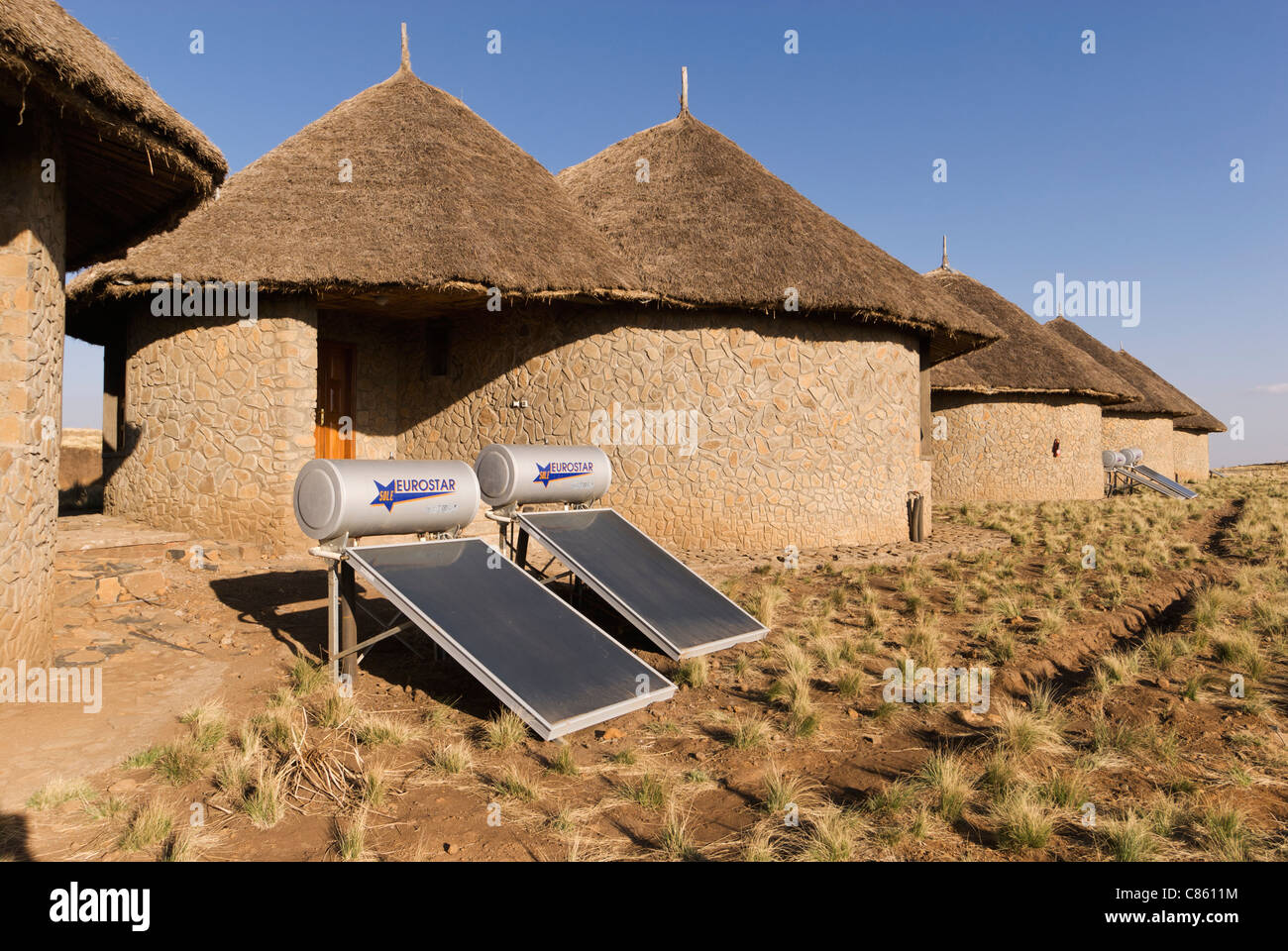 L'Éthiopie, Elk200-2387 Parc National Montagnes du Simien Simien Mountain Lodge, bungalows, chambres, avec Photo Stock