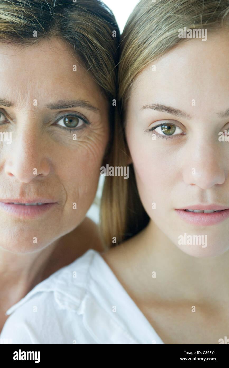 Mère et fille, close-up portrait Photo Stock
