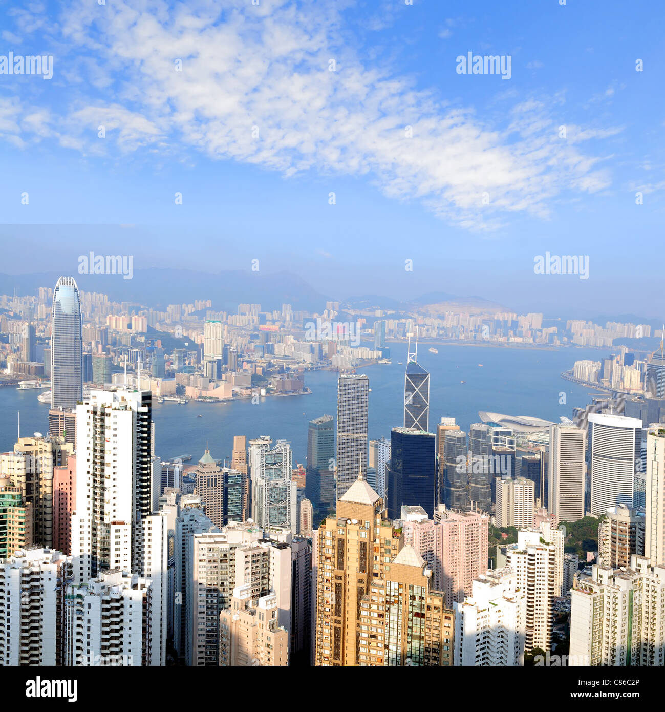Vue sur l'horizon de la pointe de l'île de Hong Kong Photo Stock