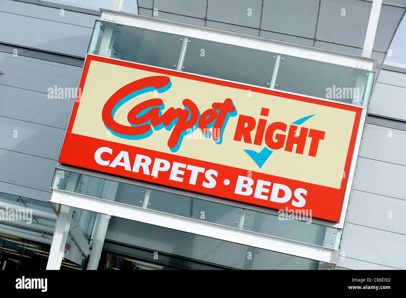Droit tapis logo détaillant england uk Photo Stock