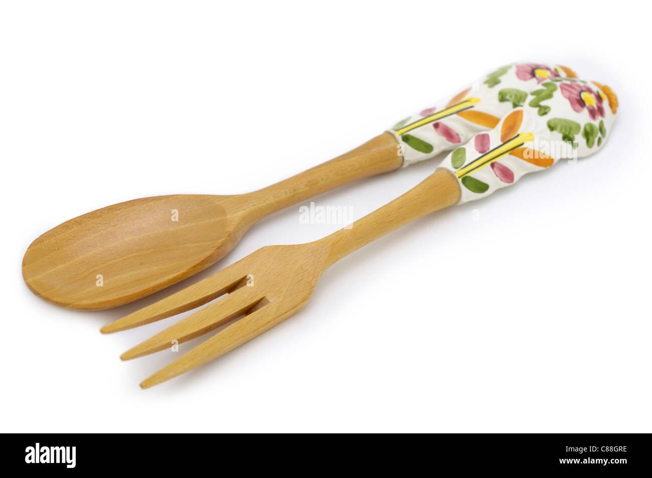 Fourchette et cuillère à salade Photo Stock