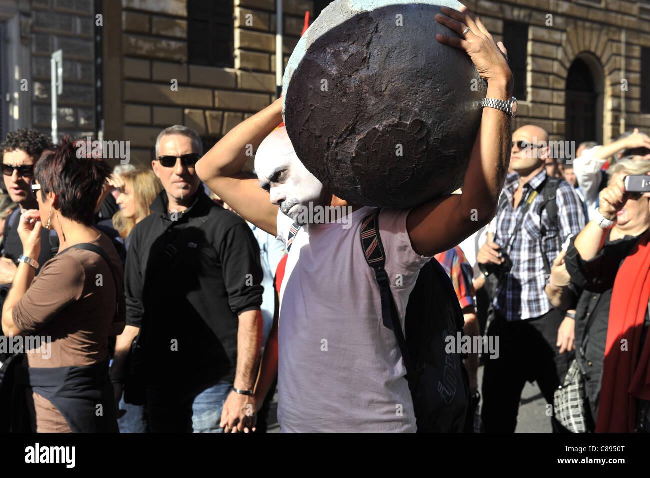 Indignés protester à rome tourne à la violence Photo Stock