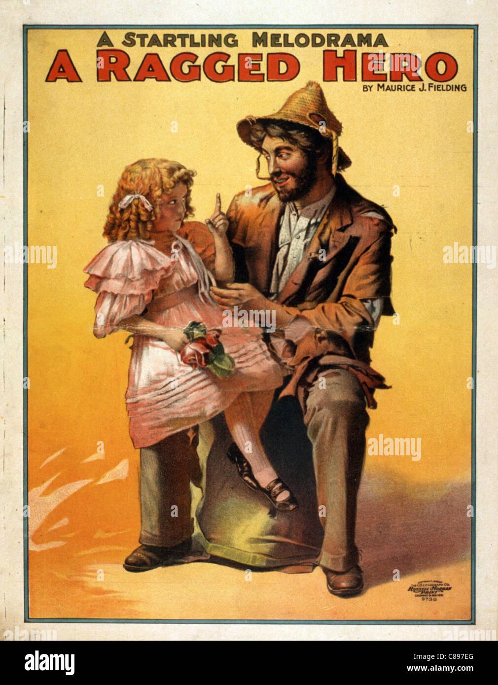 Un mélodrame, un héros en haillons poster Photo Stock