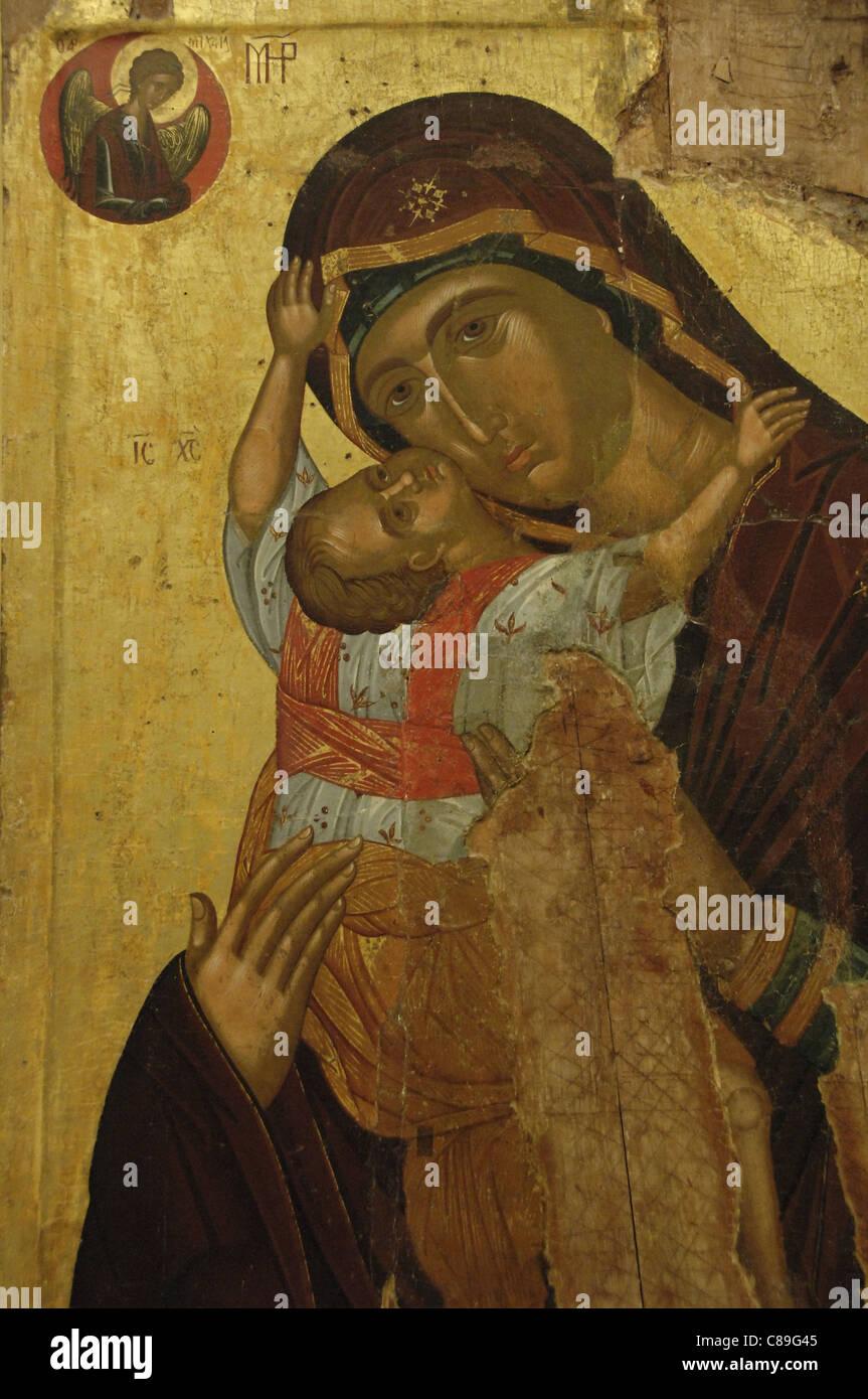 L'art byzantin en Grèce. Avec l'icône de la Vierge de tendresse (Kaardiotissa). Date du milieu Photo Stock
