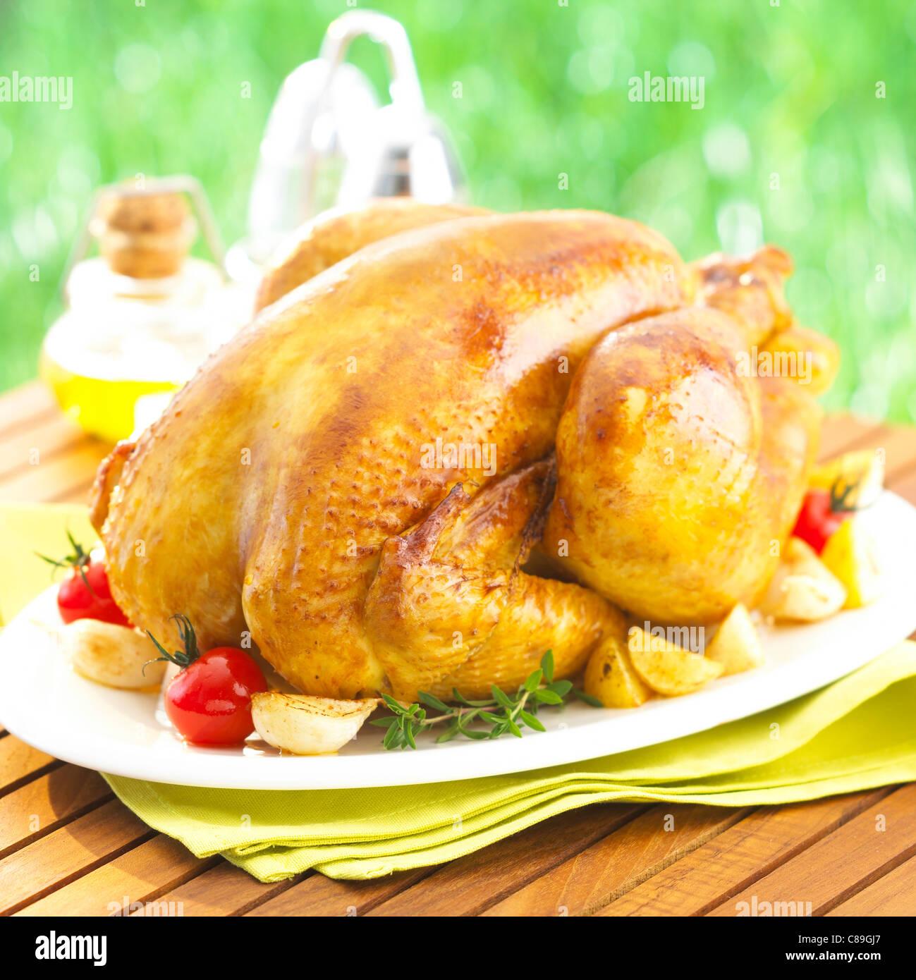 Poulet rôti de canard des Landes Photo Stock