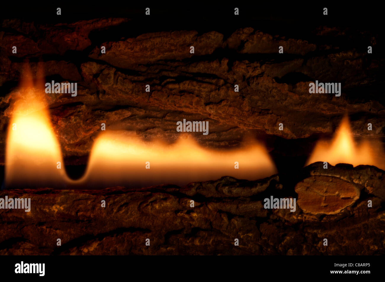 Flammes cheminée Photo Stock