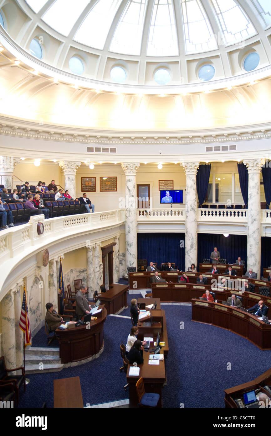 Chambre des représentants de l'Idaho en session à l'Idaho State Capitol building situé à Boise, Idaho, USA. Banque D'Images