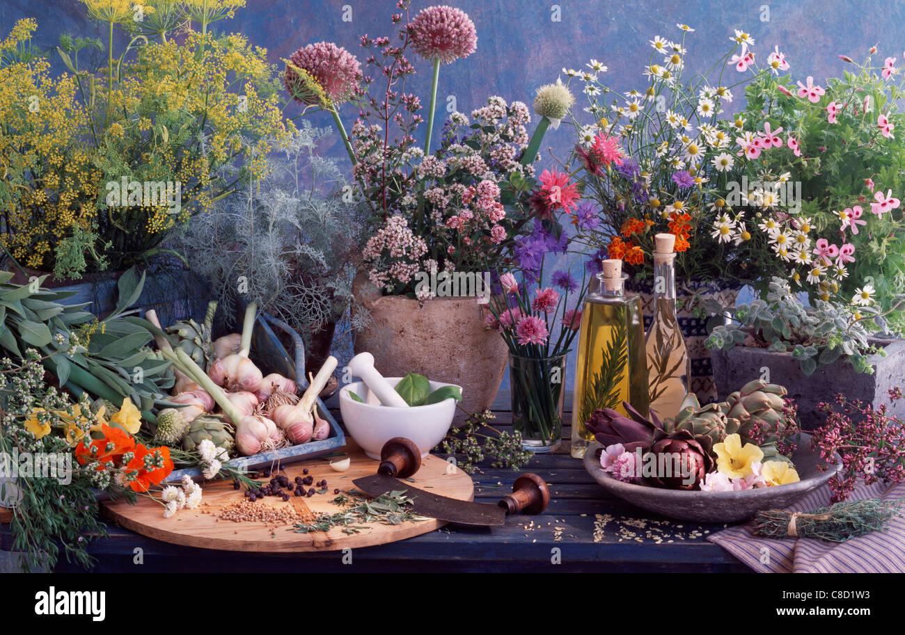 Herbes Aromatiques Les Fleurs L Huile Le Vinaigre L Ail Et Les