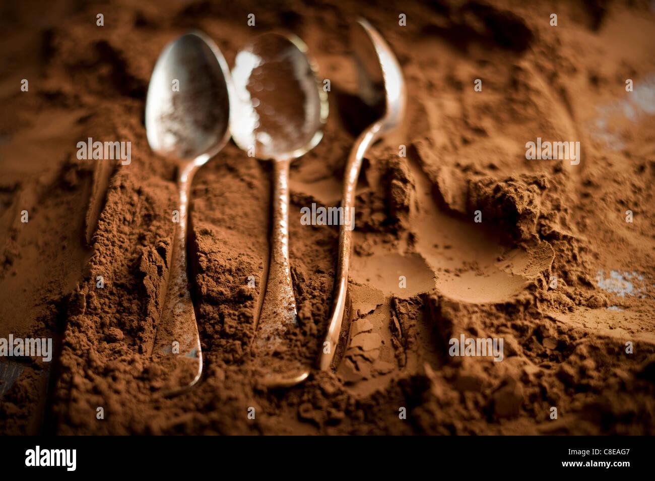 Les cuillères et le chocolat en poudre Photo Stock