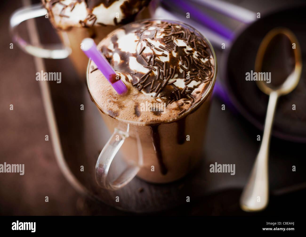 Lait frappé au chocolat Photo Stock
