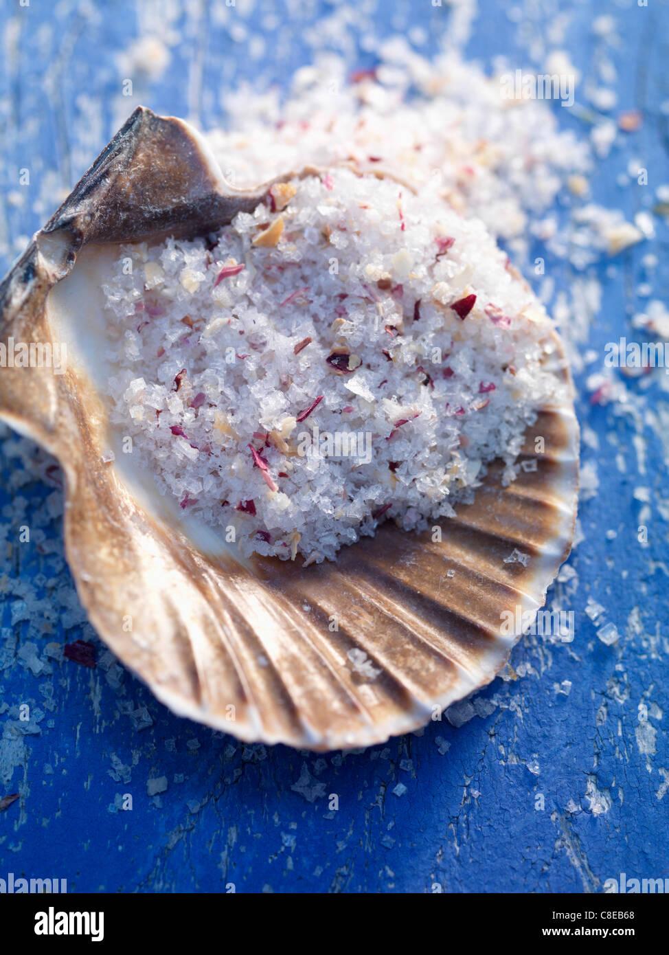 La fleur de sel Le sel de mer dans une coquille Saint-Jacques Photo Stock