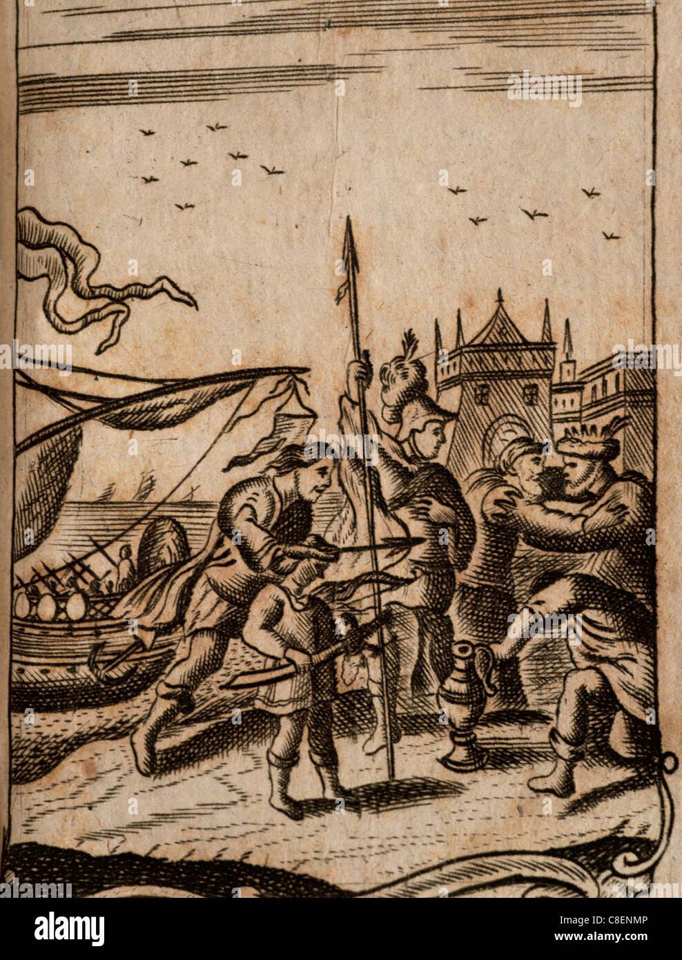 Publius Vergilius Maro (70 BC-19 AC). Poète latin. Énéide. La gravure. 1729. Photo Stock