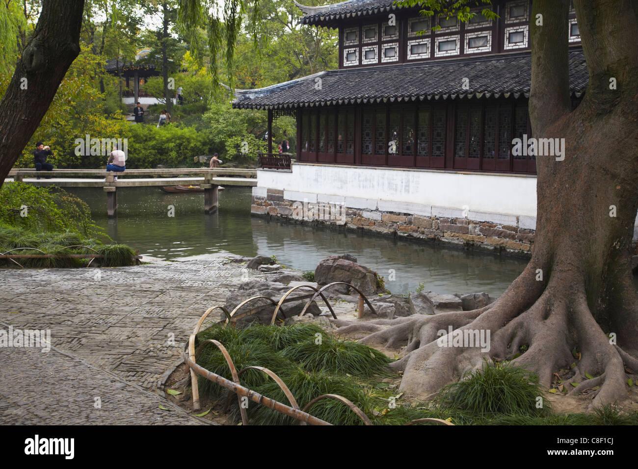 L'Humble Administrator's Garden, Site du patrimoine mondial de l'UNESCO, Suzhou, Jiangsu, Chine Photo Stock