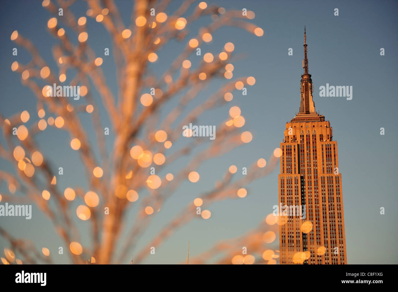 Noël, décoration, Empire State Building, Manhattan, New York, USA, United States, Amérique, Photo Stock