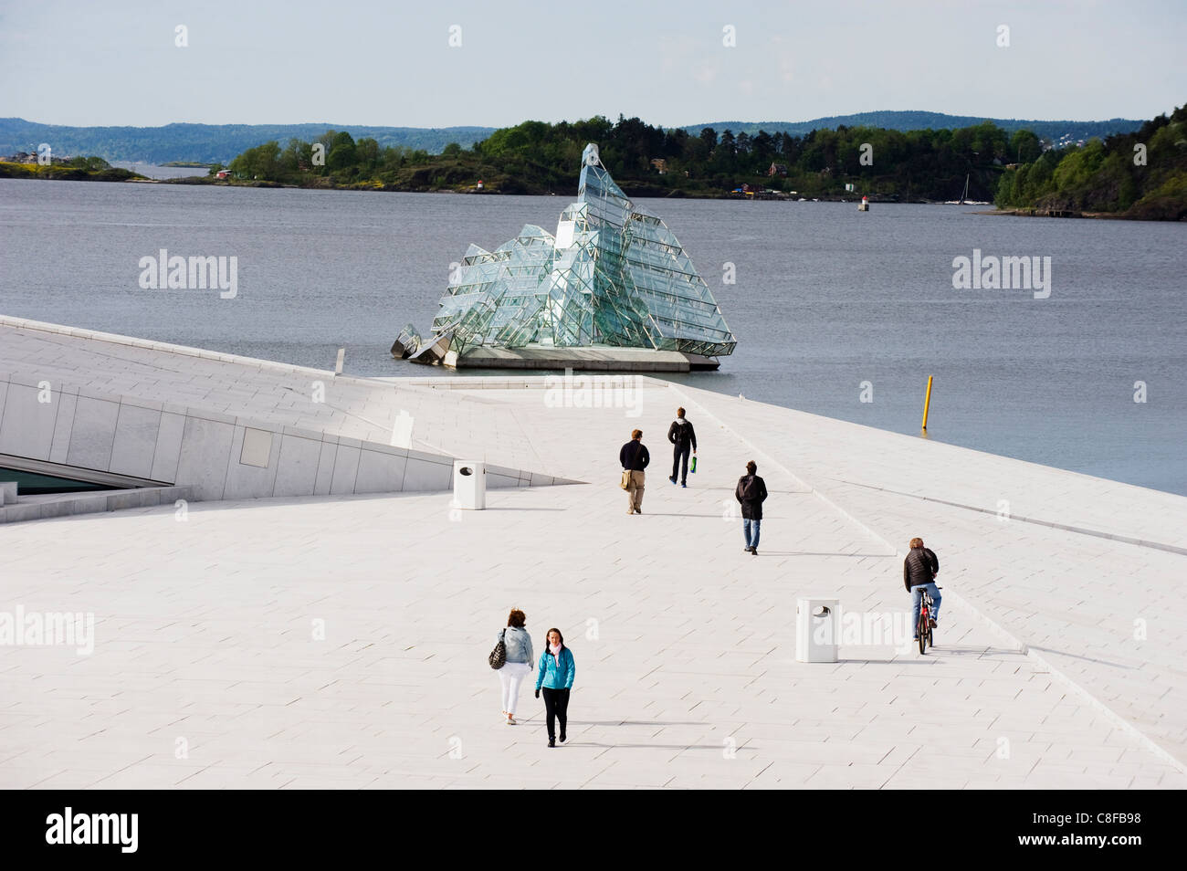 Iceberg art flottante au bord de l'Oslofjord, Oslo, en Scandinavie Photo Stock