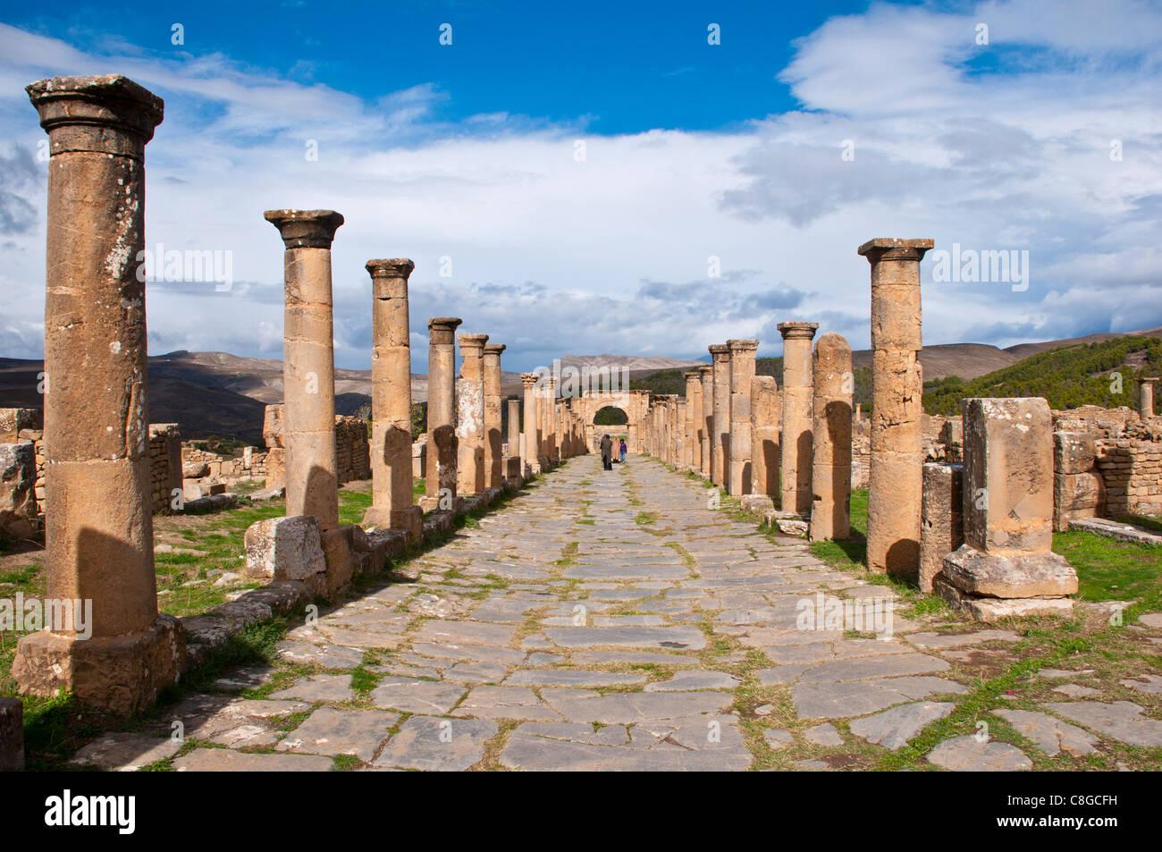 Les ruines romaines de Djemila, Site du patrimoine mondial de l'UNESCO, l'Algérie, l'Afrique du Photo Stock